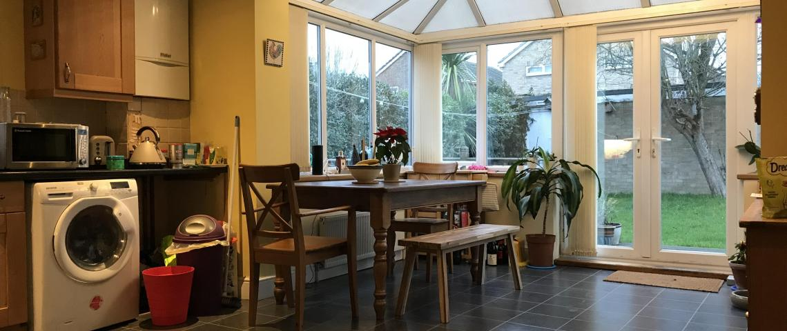 Large conservatory and dining area